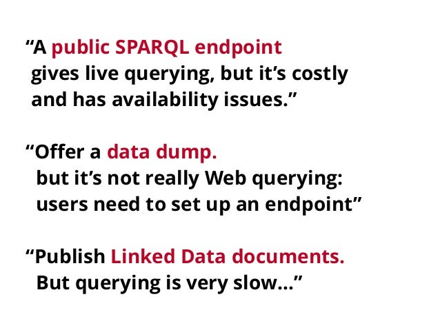 Querying datasets on the Web with high availability Slide 3