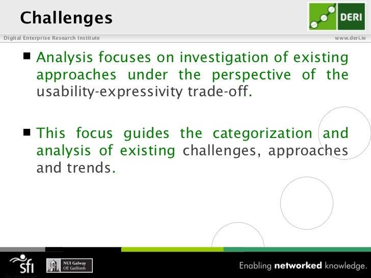 ChallengesDigital Enterprise Research Institute                  www.deri.ie           Analysis focuses on investigation ...