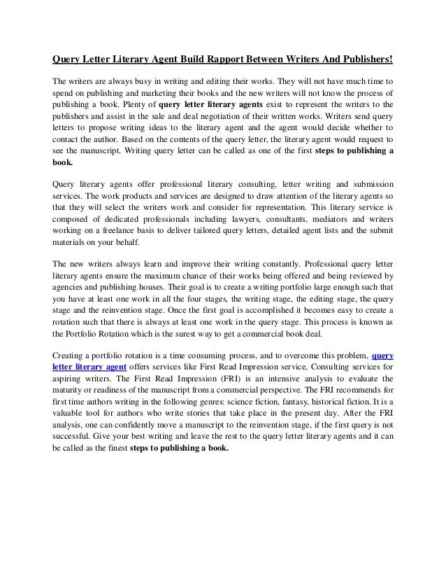 how to write a cover letter for a literary agent - query letter literary agent build rapport between writers