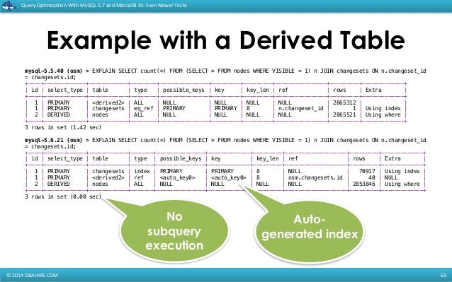 Query Optimization with MySQL 5.7 and MariaDB 10: Even newer tricks slideshare - 웹