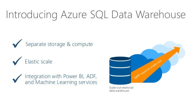 Introducing Azure SQL Data Warehouse Integration with Power BI, ADF, and Machine Learning services Separate storage & comp...