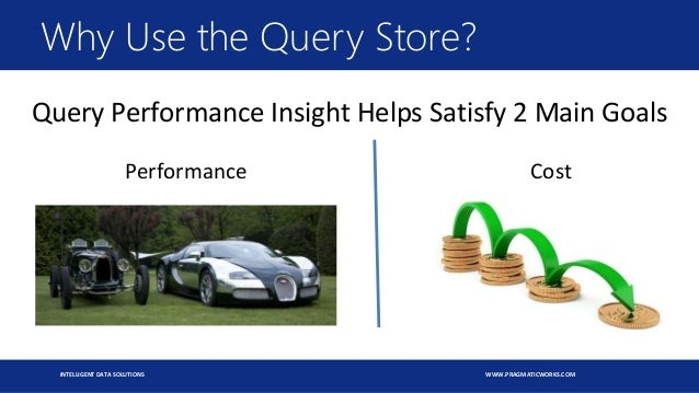 INTELLIGENT DATA SOLUTIONS WWW.PRAGMATICWORKS.COM Why Use the Query Store? Query Performance Insight Helps Satisfy 2 Main ...