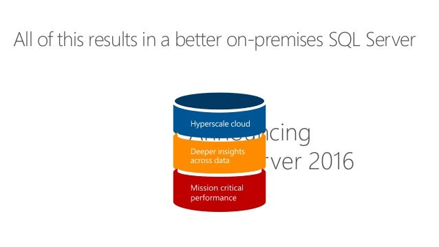 All of this results in a better on-premises SQL Server Announcing SQL Server 2016