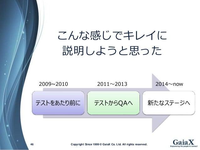 Copyright Since 1999 46 © GaiaX Co. Ltd. All rights reserved.  テストをあたり前に  テストからQAへ  新たなステージへ  2009~2010  2011~2013  2014~n...