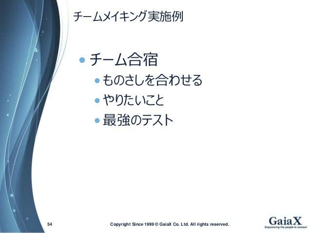 チームメイキング実施例  •チーム合宿  •ものさしを合わせる  •やりたいこと  •最強のテスト  Copyright Since 1999 54 © GaiaX Co. Ltd. All rights reserved.