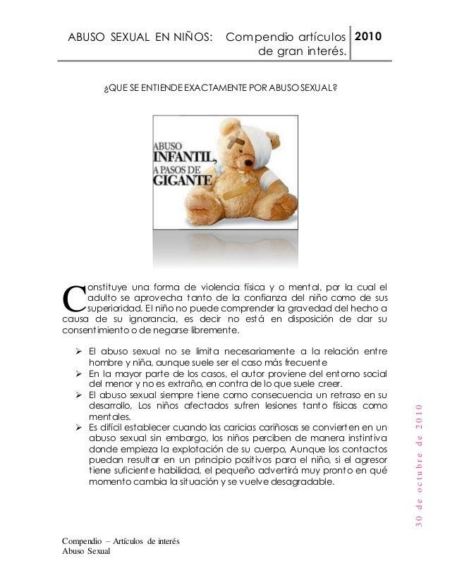 ABUSO SEXUAL EN NIÑOS: Compendio artículos de gran interés. 2010 Compendio – Artículos de interés Abuso Sexual 30deoctubre...