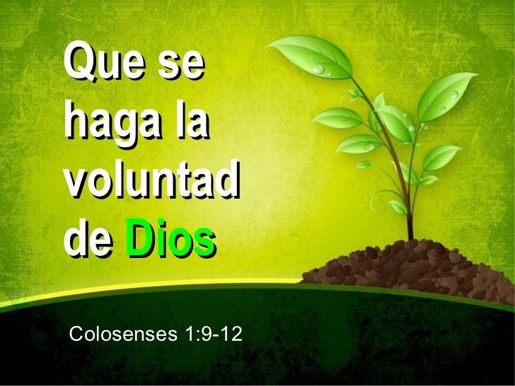 Que se haga la voluntad de  Dios Colosenses 1:9-12