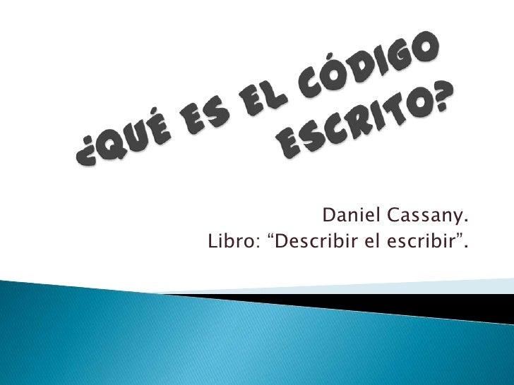 describir el escribir cassany pdf