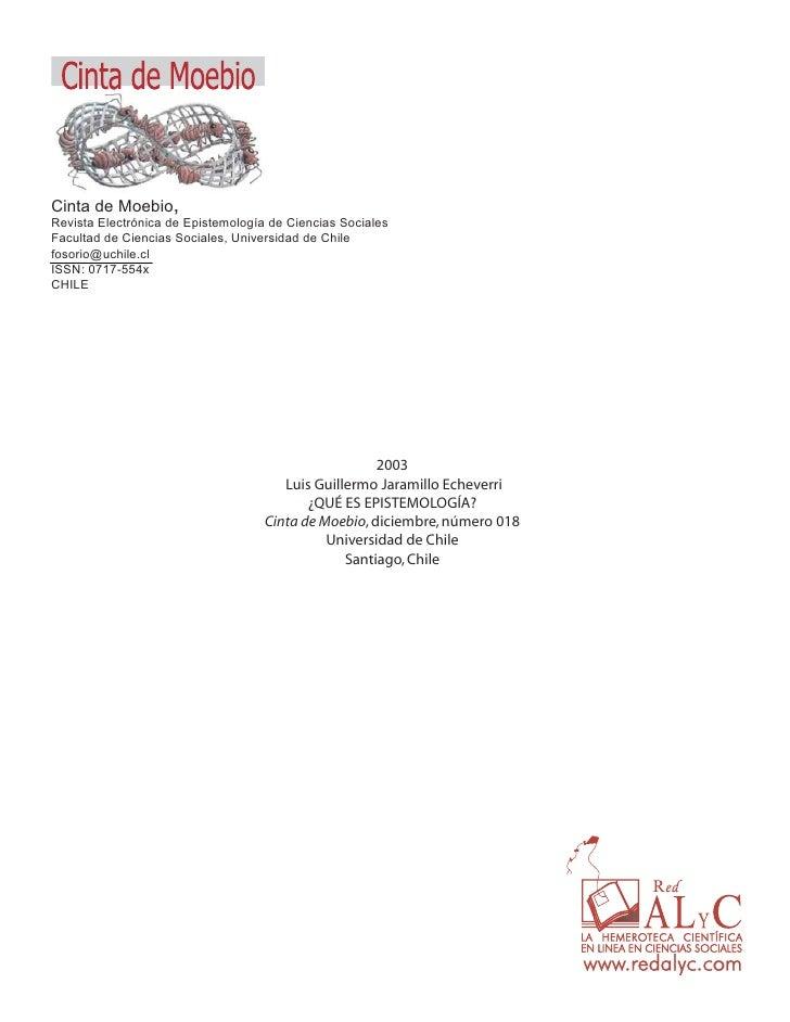 Cinta de Moebio,Revista Electrónica de Epistemología de Ciencias SocialesFacultad de Ciencias Sociales, Universidad de Chi...