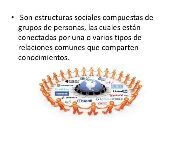 • Son estructuras sociales compuestas de  grupos de personas, las cuales están  conectadas por una o varios tipos de  rela...