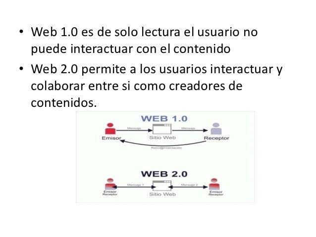 • Web 1.0 es de solo lectura el usuario no  puede interactuar con el contenido• Web 2.0 permite a los usuarios interactuar...