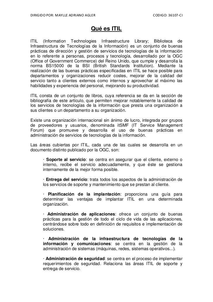 DIRIGIDO POR: MAYLLE ADRIANO AGLER                             CODIGO: 36107-CI                               Qué es ITILI...