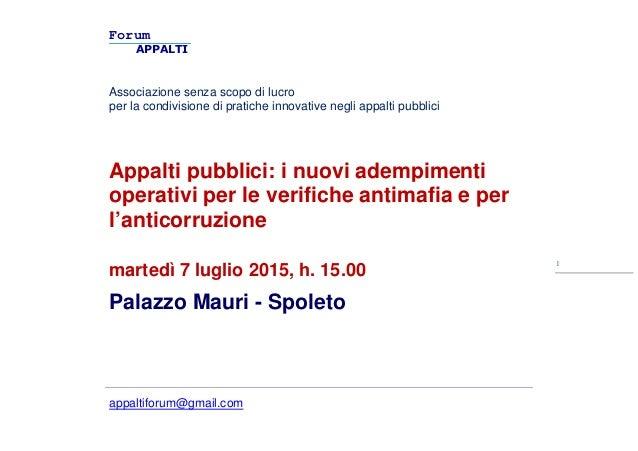 Forum APPALTI Associazione senza scopo di lucro per la condivisione di pratiche innovative negli appalti pubblici appaltif...