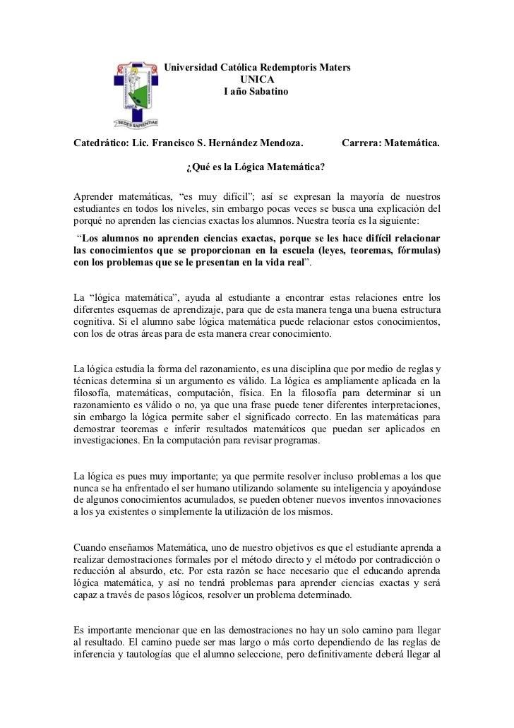 Universidad Católica Redemptoris Maters                                     UNICA                                 I año Sa...