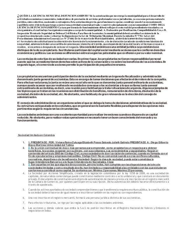 ¿QUÉES LA LICENCIA MUNICIPAL DEFUNCIONAMIENTO?Es la autorización que me otorga la municipalidad parael desarrollode activi...