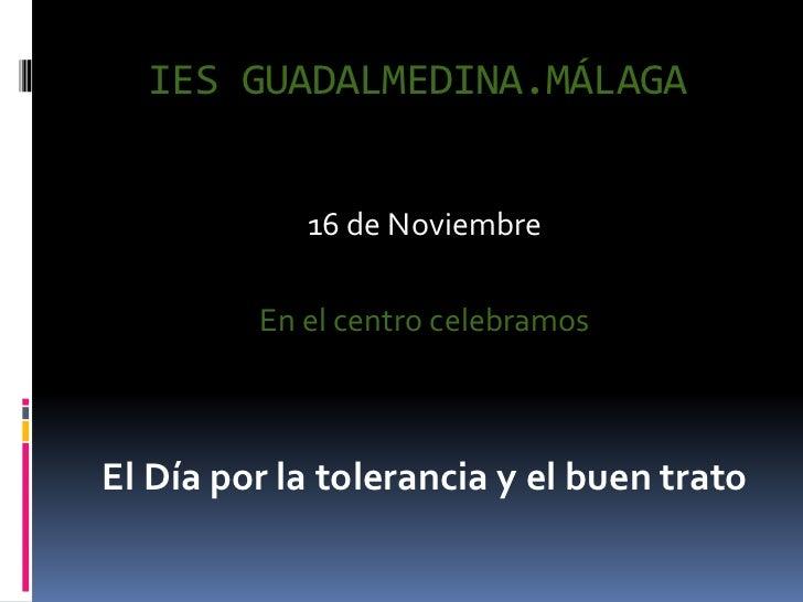 IES GUADALMEDINA.MÁLAGA            16 de Noviembre         En el centro celebramosEl Día por la tolerancia y el buen trato