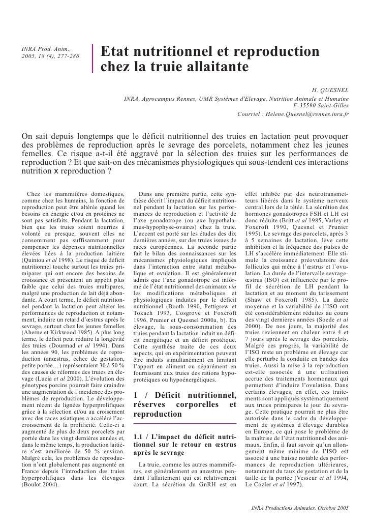 INRA Prod. Anim., 2005, 18 (4), 277-286           Etat nutritionnel et reproduction                                 chez l...