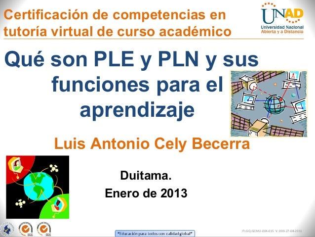 Certificación de competencias entutoría virtual de curso académicoQué son PLE y PLN y sus    funciones para el       apren...