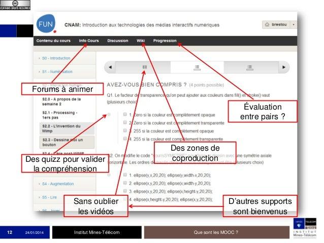 Forums à animer Évaluation entre pairs ?  Des quizz pour valider la compréhension  Sans oublier les vidéos 12  24/01/2014 ...