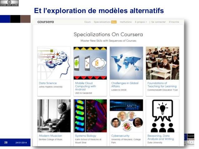 Et l'exploration de modèles alternatifs  28  24/01/2014  Institut Mines-Télécom  Que sont les MOOC ?