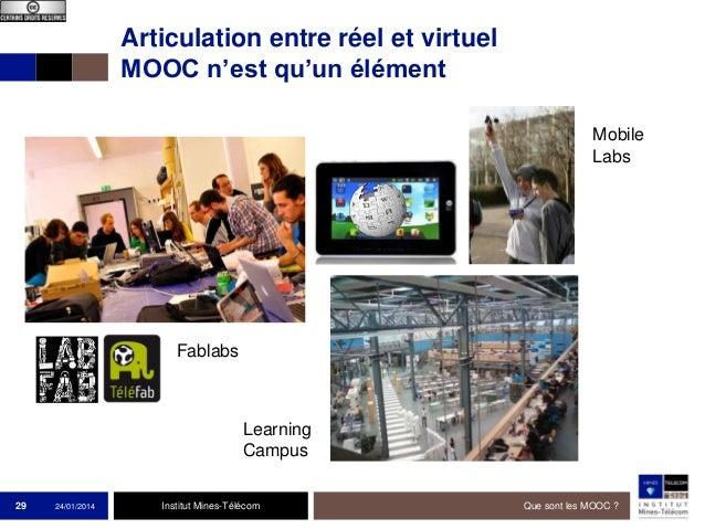Articulation entre réel et virtuel MOOC n'est qu'un élément Mobile Labs  Fablabs  Learning Campus 29  24/01/2014  Institut...