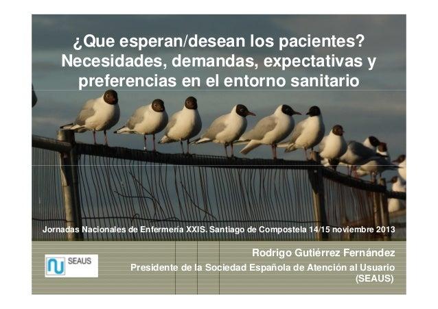¿Que esperan/desean los pacientes? Necesidades, demandas, expectativas y preferencias en el entorno sanitario  Jornadas Na...