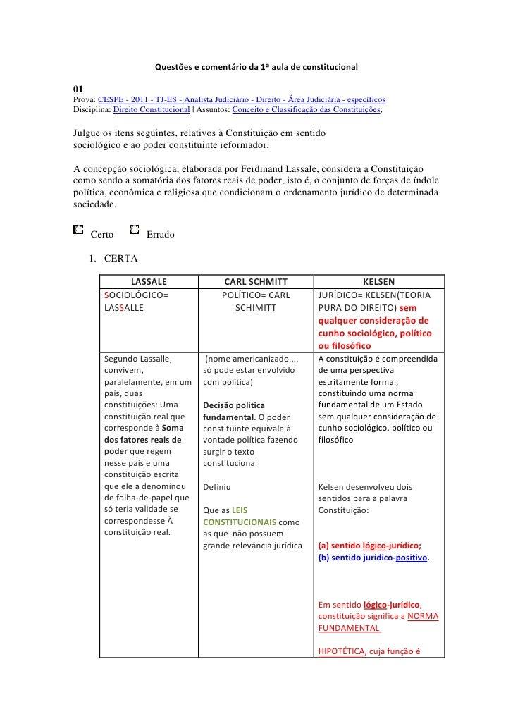Questões e comentário da 1ª aula de constitucional01Prova: CESPE - 2011 - TJ-ES - Analista Judiciário - Direito - Área Jud...