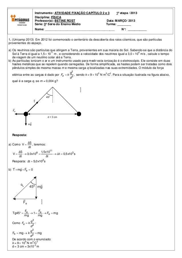 Instrumento: ATIVIDADE FIXAÇÃO CAPÍTULO 2 e 3    1ª etapa / 2013                     Disciplina: FÍSICA                   ...