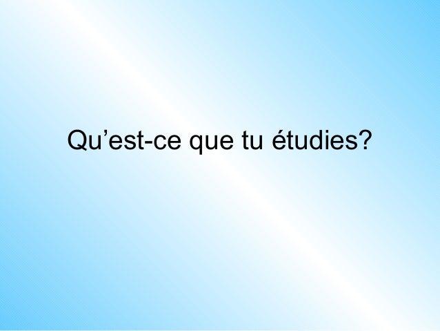 Qu'est-ce que tu étudies?