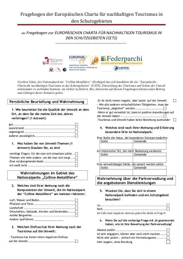 Fragebogen der Europäischen Charta für nachhaltigen Tourismus in den Schutzgebieten -de- Fragebogen zur EUROPÄISCHEN CHART...