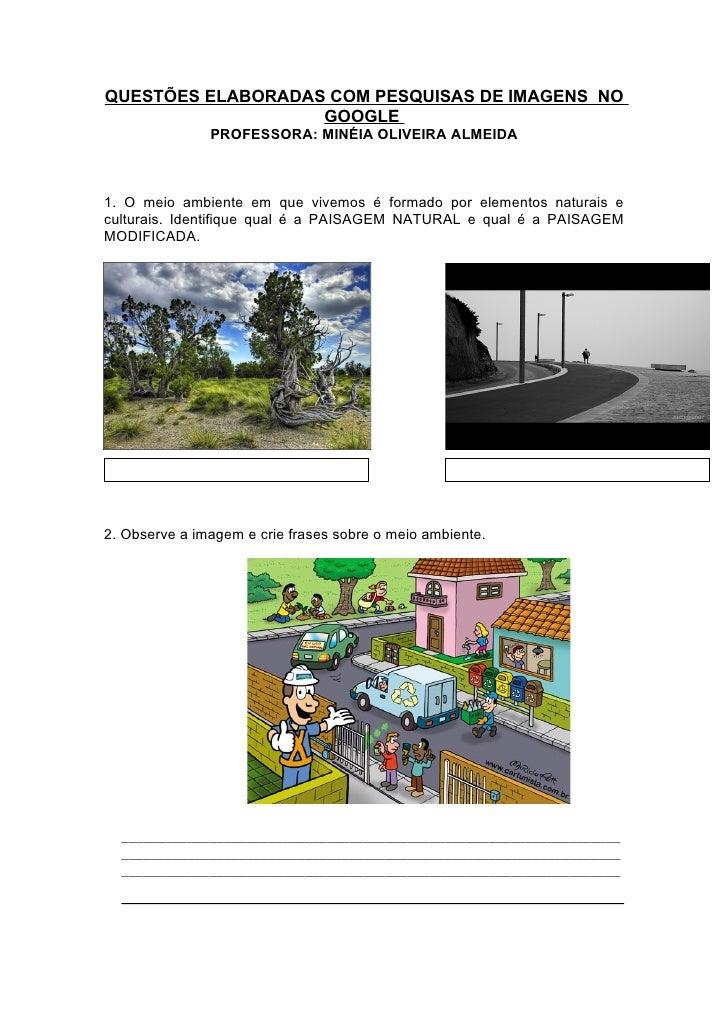 QUESTÕES ELABORADAS COM PESQUISAS DE IMAGENS NO                    GOOGLE                PROFESSORA: MINÉIA OLIVEIRA ALMEI...