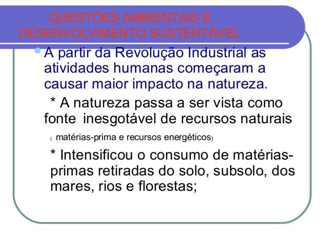 QUESTÕES AMBIENTAIS EDESENVOLVIMENTO SUSTENTÁVEL A  partir da Revolução Industrial as   atividades humanas começaram a   ...