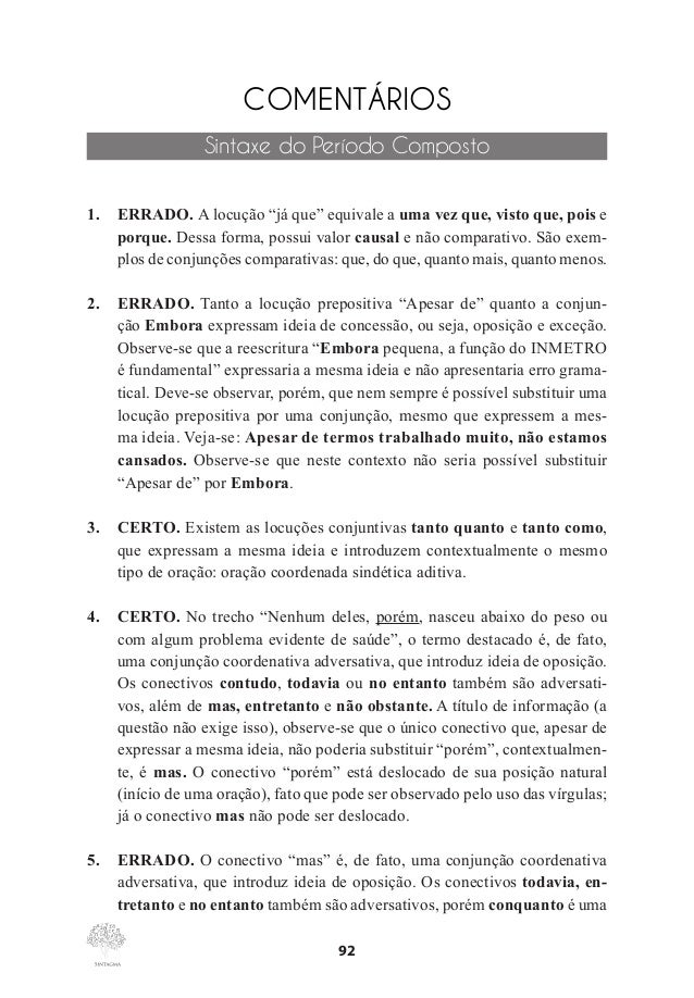 Questões comentadas de gramática vol 1   cespe