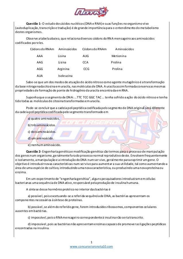 1 www.concurseiorsnota10.com Questão 1- O estudodosácidosnucléicos(DNA e RNA) e suasfunçõesnoorganismovivo (autoduplicação...