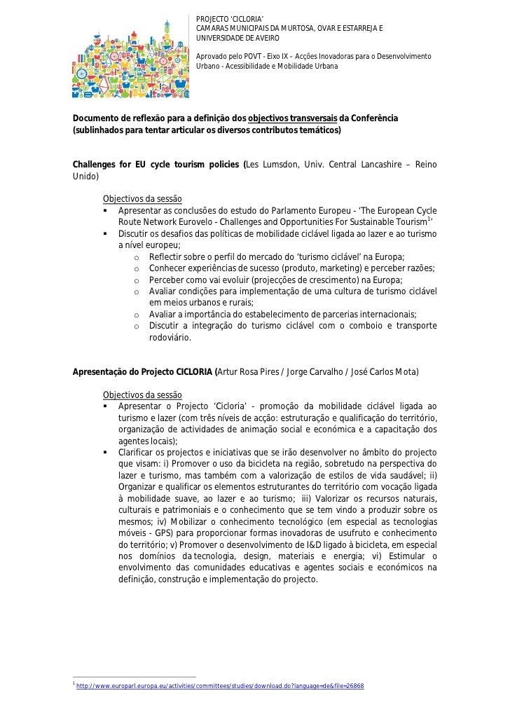 PROJECTO 'CICLORIA'                                            CAMARAS MUNICIPAIS DA MURTOSA, OVAR E ESTARREJA E          ...