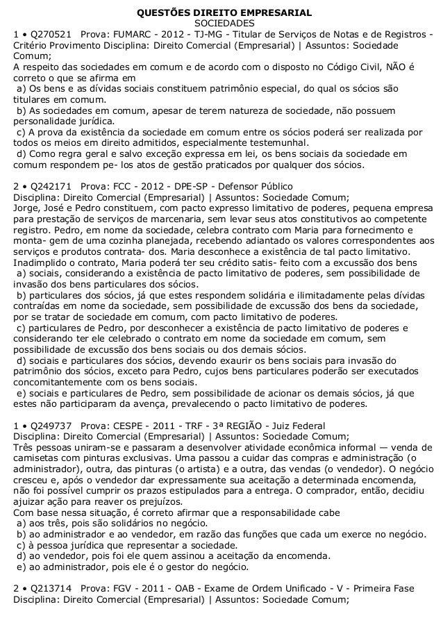 QUESTÕES DIREITO EMPRESARIALSOCIEDADES1 • Q270521 Prova: FUMARC - 2012 - TJ-MG - Titular de Serviços de Notas e de Registr...
