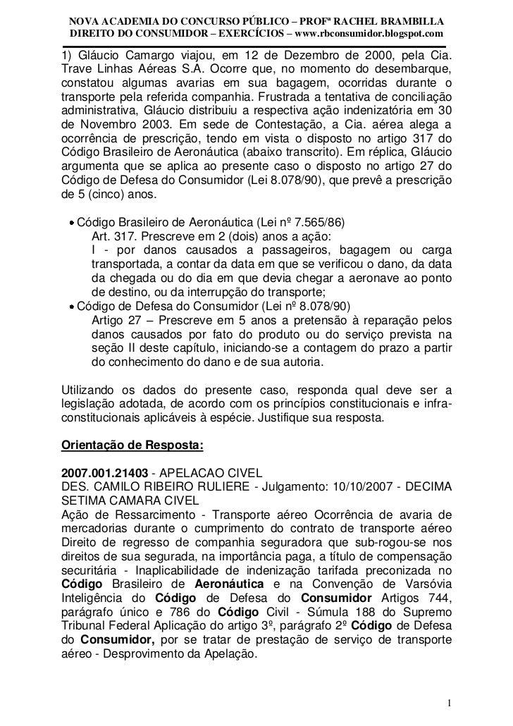 NOVA ACADEMIA DO CONCURSO PÚBLICO – PROFª RACHEL BRAMBILLA DIREITO DO CONSUMIDOR – EXERCÍCIOS – www.rbconsumidor.blogspot....
