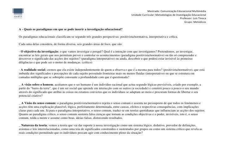 Mestrado: Comunicação Educacional Multimédia                                                                              ...