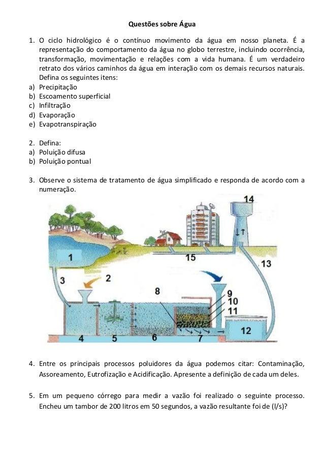 Questões sobre Água 1. O ciclo hidrológico é o contínuo movimento da água em nosso planeta. É a representação do comportam...