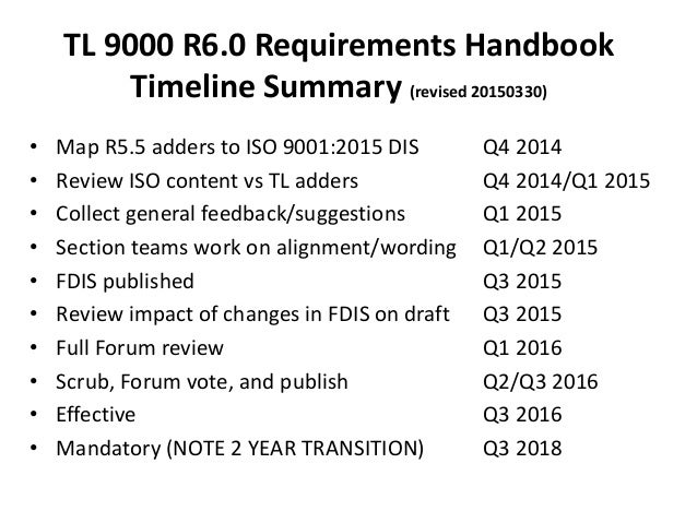 TL 9000 R6.0 Requirements Handbook Timeline Summary (revised 20150330) • Map R5.5 adders to ISO 9001:2015 DIS Q4 2014 • Re...