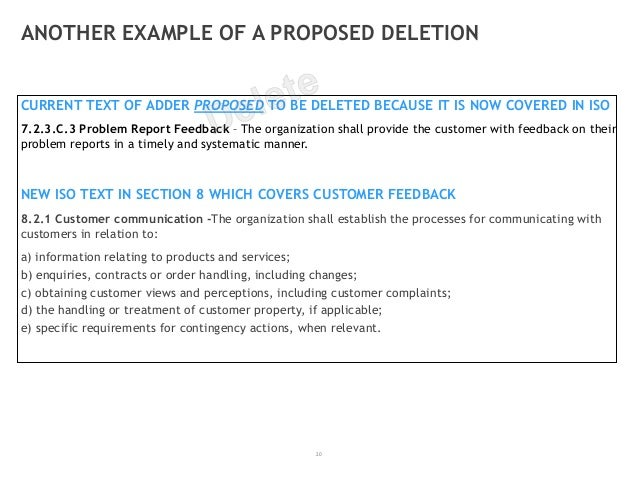 20 ANOTHER EXAMPLE OF A PROPOSED DELETION CURRENT TEXT OF ADDER PROPOSED TO BE DELETED BECAUSE IT IS NOW COVERED IN ISO 7....
