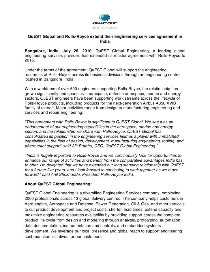quest global and rolls royce extend engineering services agreement in  quest global and rolls royce extend their engineering services