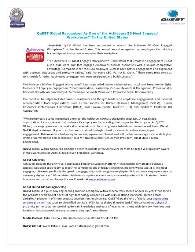 QuEST Global Recognized As One of the Achievers 50 Most Engaged Workplaces™ In the United States 16-Jan-2014: QuEST Global...