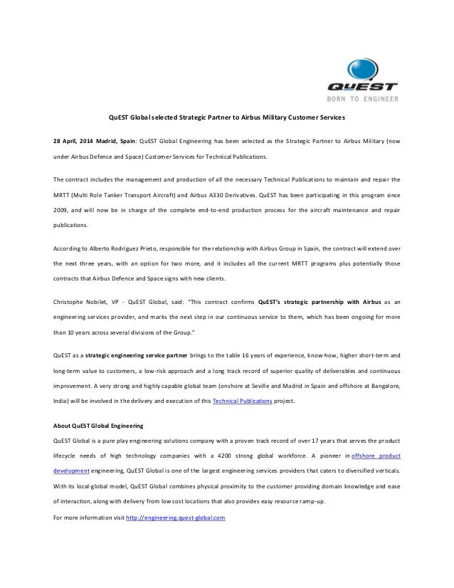 QuEST Global selected Strategic Partner to Airbus Military Customer Services 28 April, 2014 Madrid, Spain: QuEST Global En...