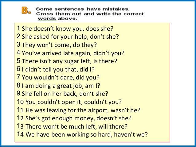 Question tag grammar+exercises