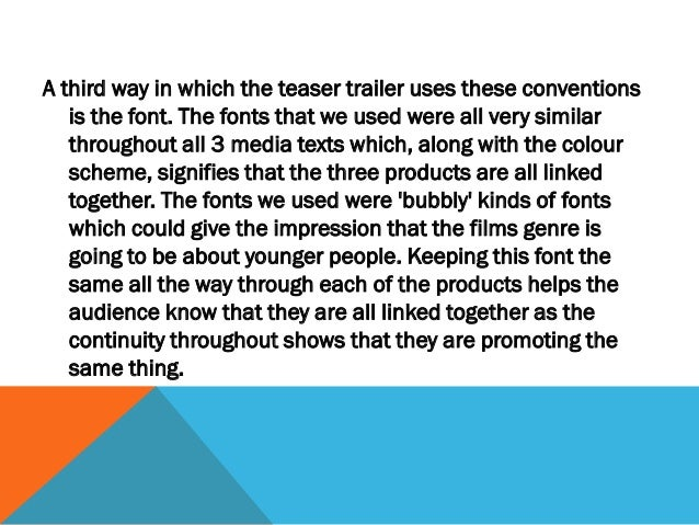 """As our teaser trailer is heavily influenced by films of our genre, for   example """"Its a Boy Girl Thing"""", it doesnt really ..."""