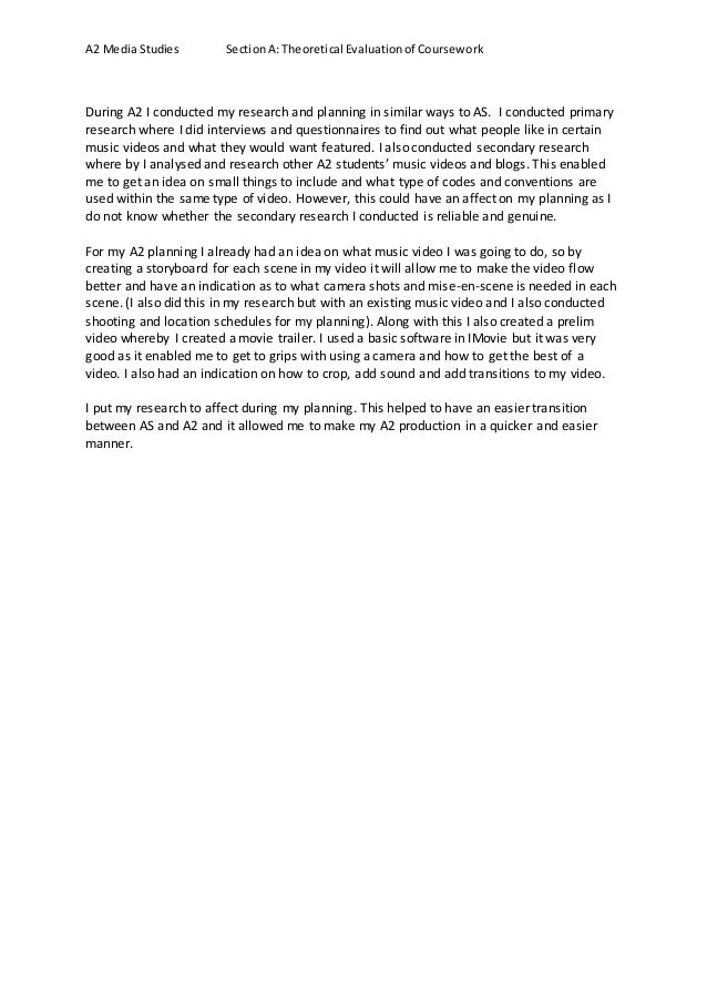 question a research and planning exemplar essay 2 a2 media studies