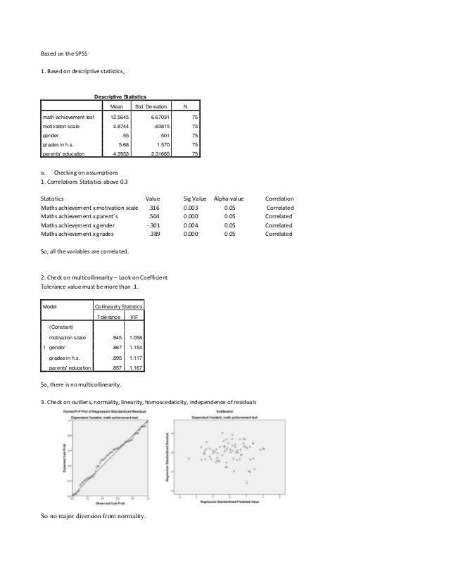 Based on the SPSS1. Based on descriptive statistics,Descriptive StatisticsMean Std. Deviation Nmath achievement test 12.56...