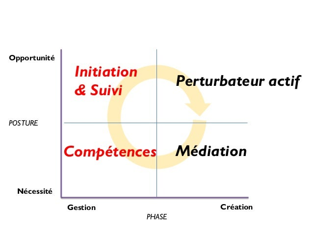 Opportunité  Initiation & Suivi  Perturbateur actif  POSTURE  Compétences  Médiation  Nécessité Création  Gestion PHASE