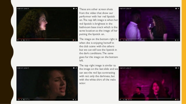 These are other screen shots from the video that show our performer with her red lipstick on.The top left image is when he...